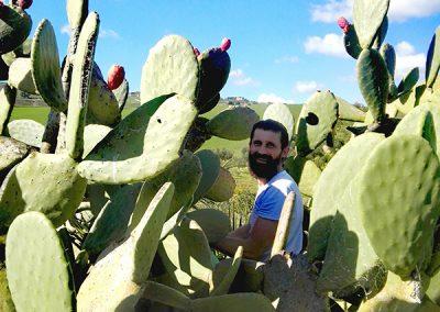 Paweł Durakiewicz pośród kaktusów